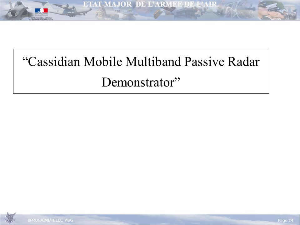 Cassidian Mobile Multiband Passive Radar Demonstrator