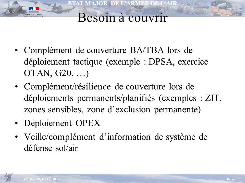Besoin à couvrir Complément de couverture BA/TBA lors de déploiement tactique (exemple : DPSA, exercice OTAN, G20, …)