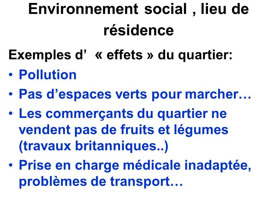Environnement social , lieu de résidence