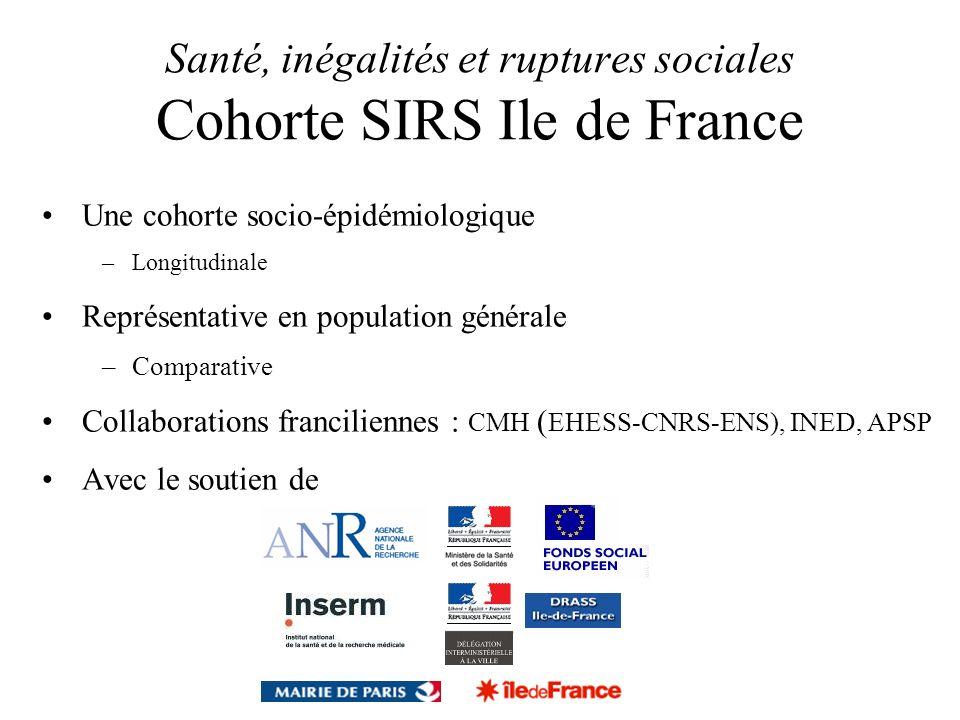 Santé, inégalités et ruptures sociales Cohorte SIRS Ile de France