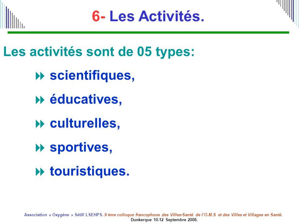 6- Les Activités. Les activités sont de 05 types:  scientifiques,  éducatives,  culturelles,  sportives,  touristiques.