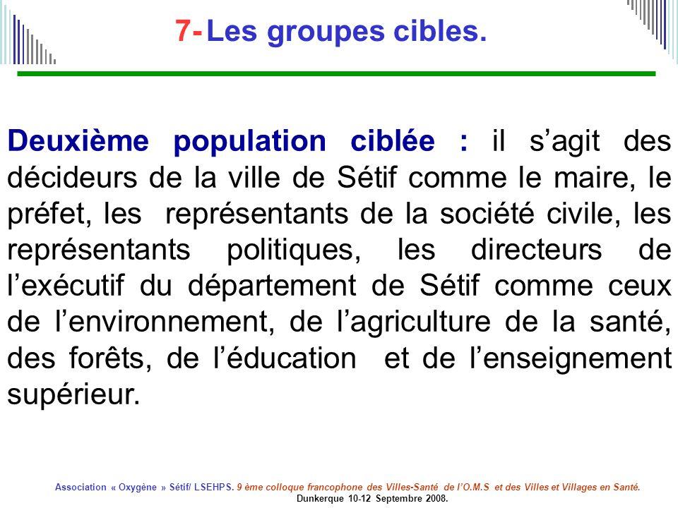 7- Les groupes cibles.
