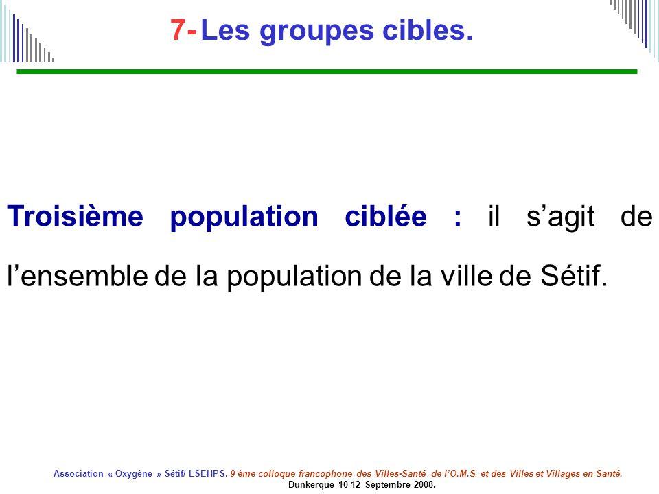 7- Les groupes cibles. Troisième population ciblée : il s'agit de l'ensemble de la population de la ville de Sétif.