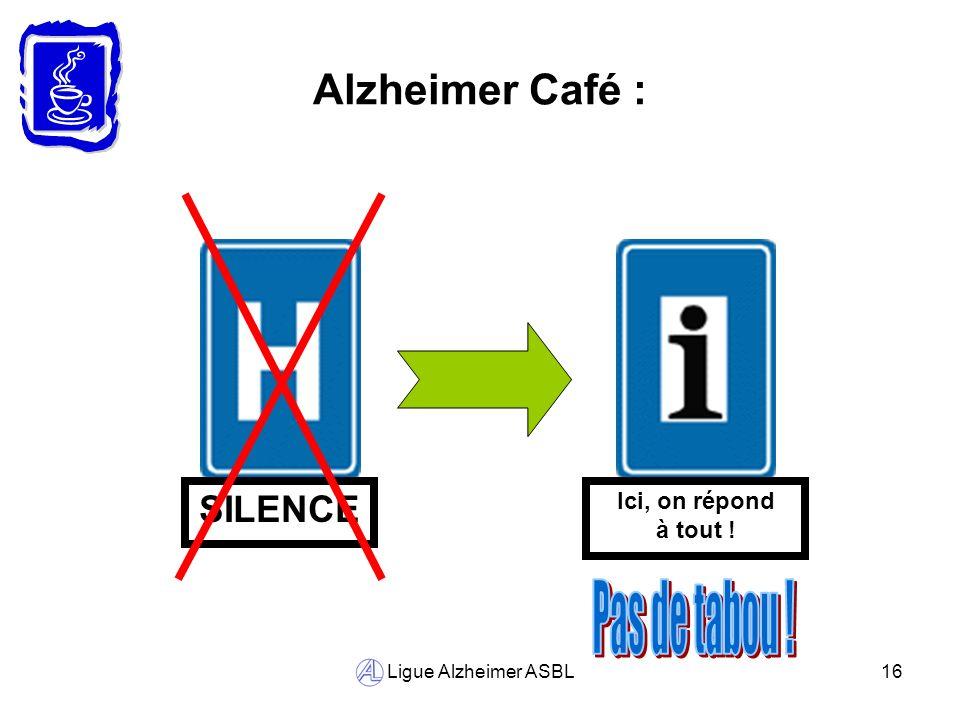 Pas de tabou ! Alzheimer Café : SILENCE Ici, on répond à tout !