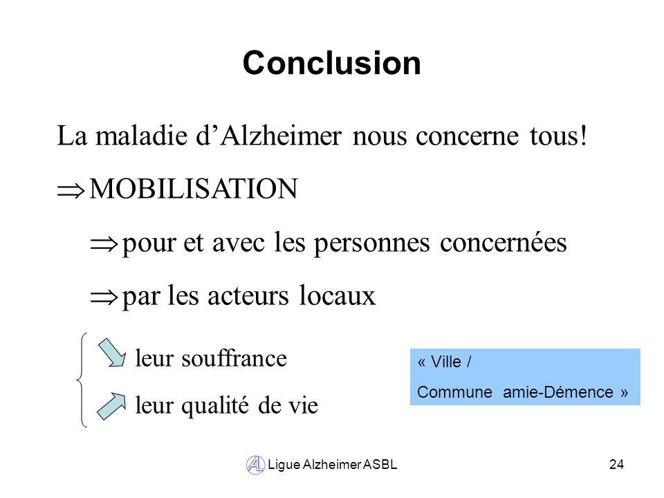 Conclusion La maladie d'Alzheimer nous concerne tous! MOBILISATION
