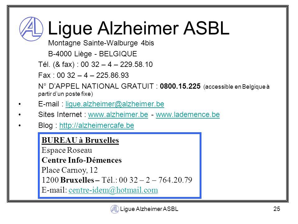 Ligue Alzheimer ASBL BUREAU à Bruxelles Espace Roseau