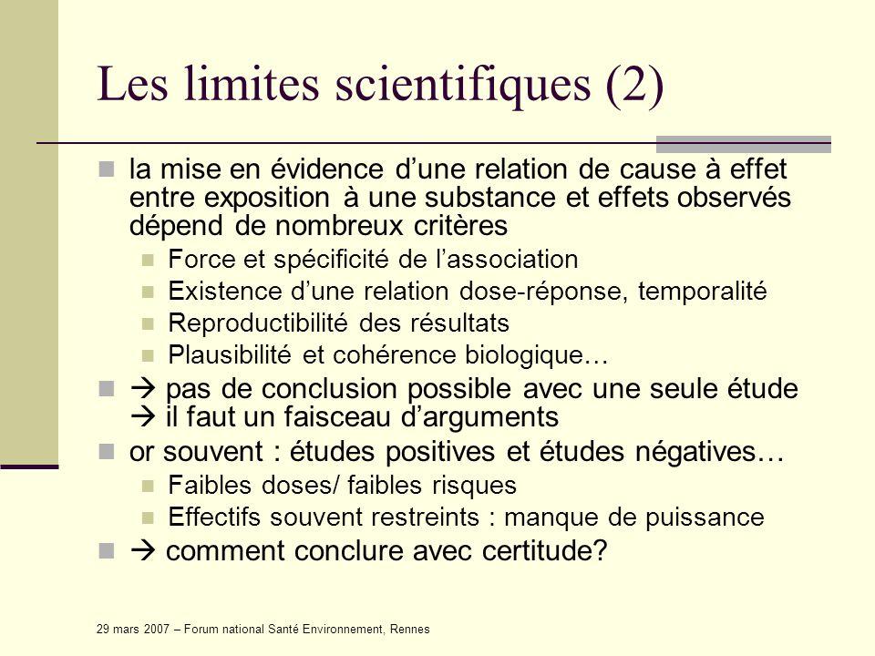 Les limites scientifiques (2)