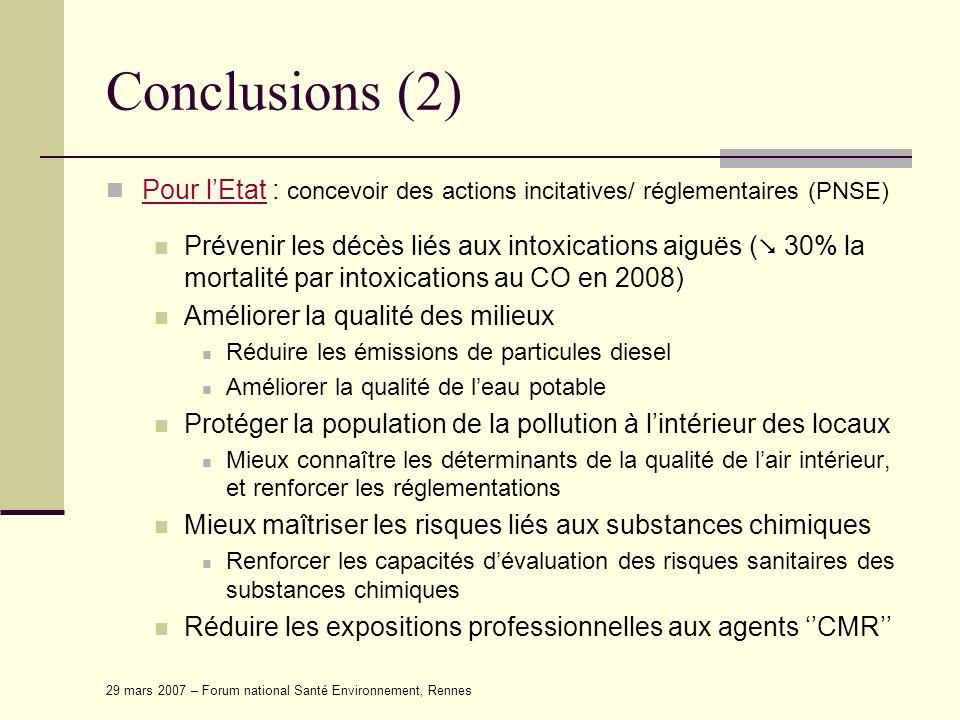Conclusions (2) Pour l'Etat : concevoir des actions incitatives/ réglementaires (PNSE)