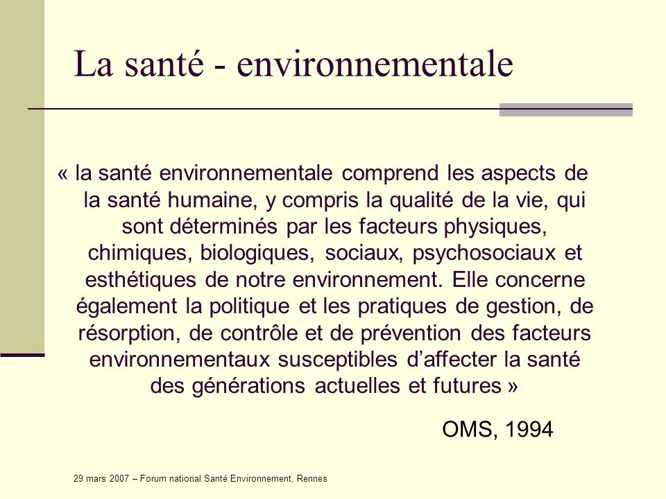 La santé - environnementale