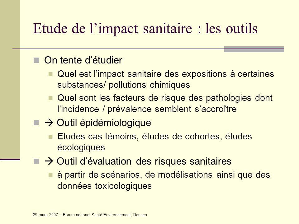 Etude de l'impact sanitaire : les outils