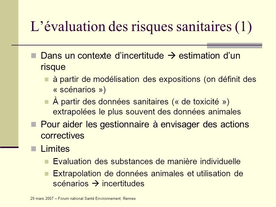 L'évaluation des risques sanitaires (1)