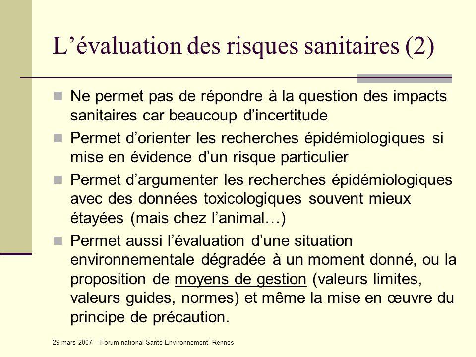L'évaluation des risques sanitaires (2)