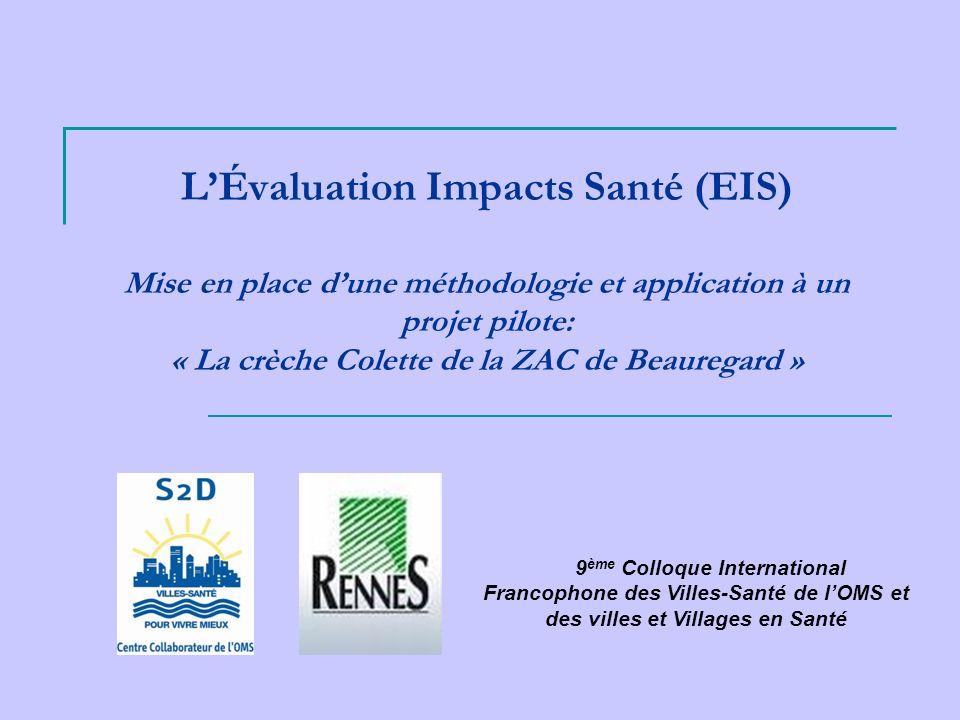 L'Évaluation Impacts Santé (EIS) Mise en place d'une méthodologie et application à un projet pilote: « La crèche Colette de la ZAC de Beauregard »