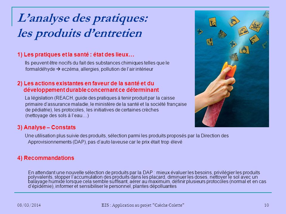 L'analyse des pratiques: les produits d'entretien