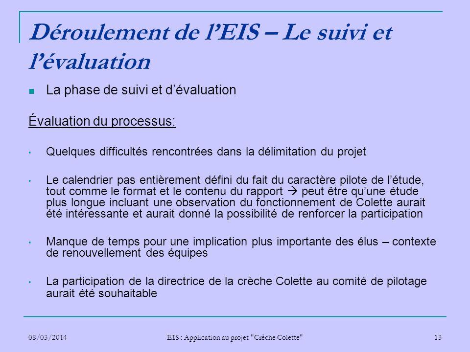 Déroulement de l'EIS – Le suivi et l'évaluation