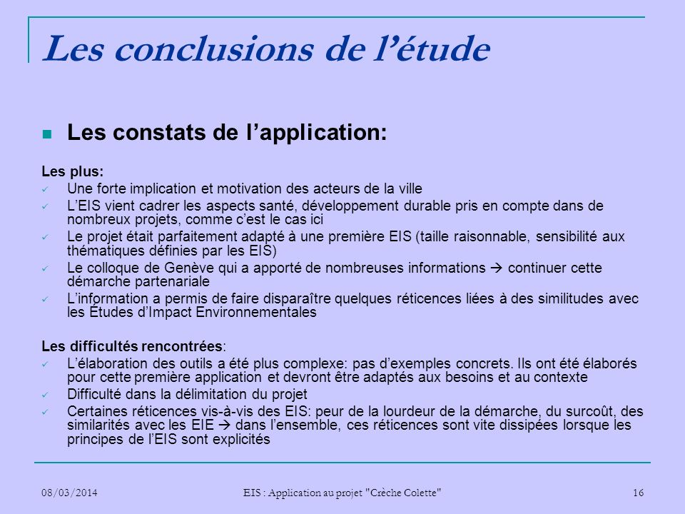 Les conclusions de l'étude