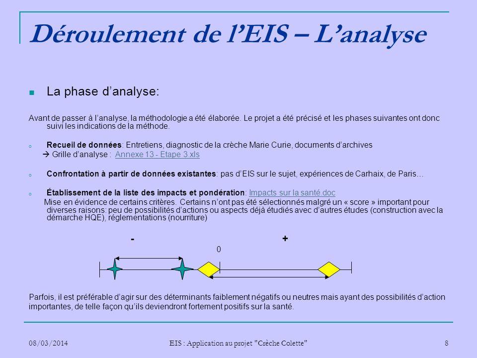 Déroulement de l'EIS – L'analyse