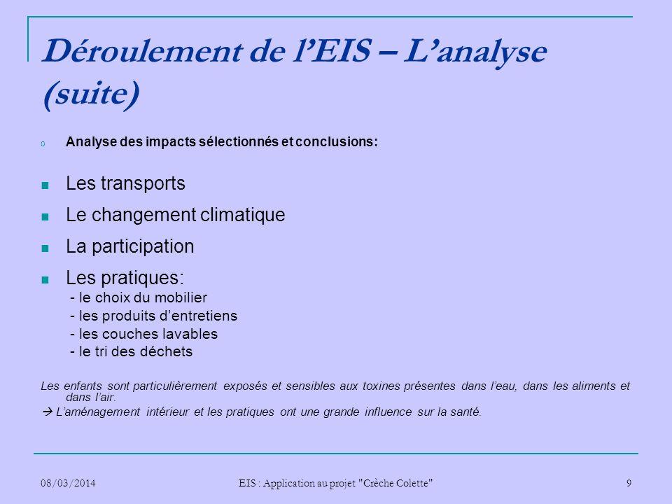 Déroulement de l'EIS – L'analyse (suite)