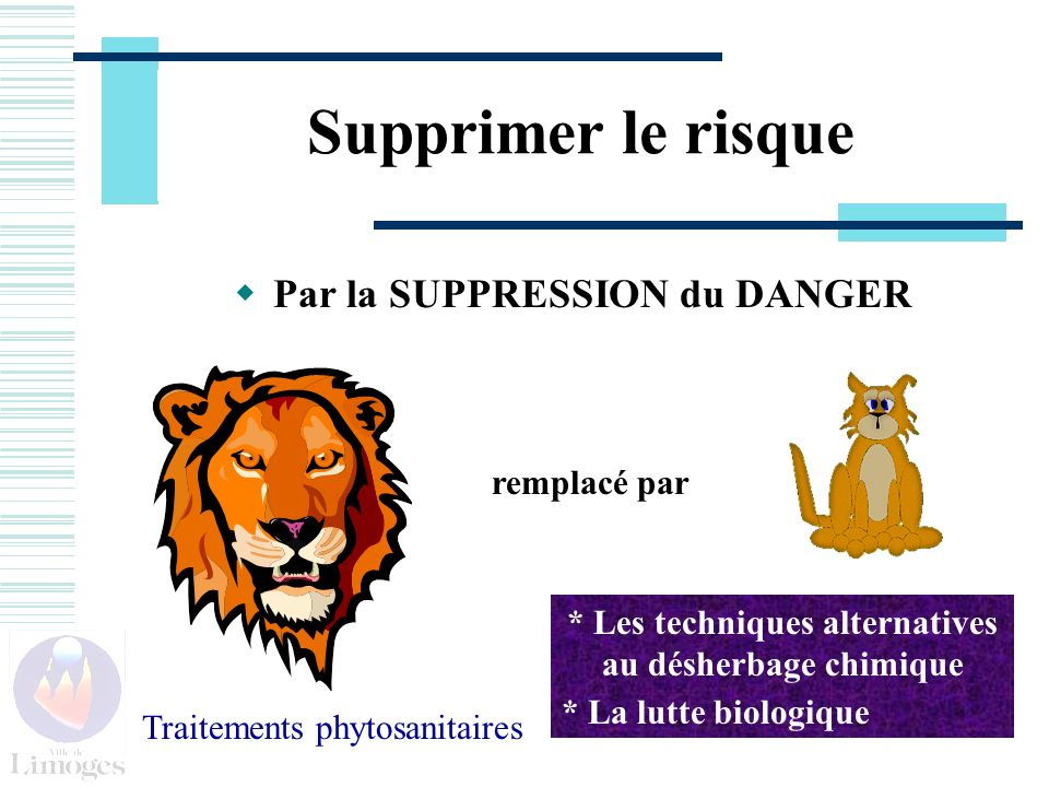Supprimer le risque Par la SUPPRESSION du DANGER remplacé par