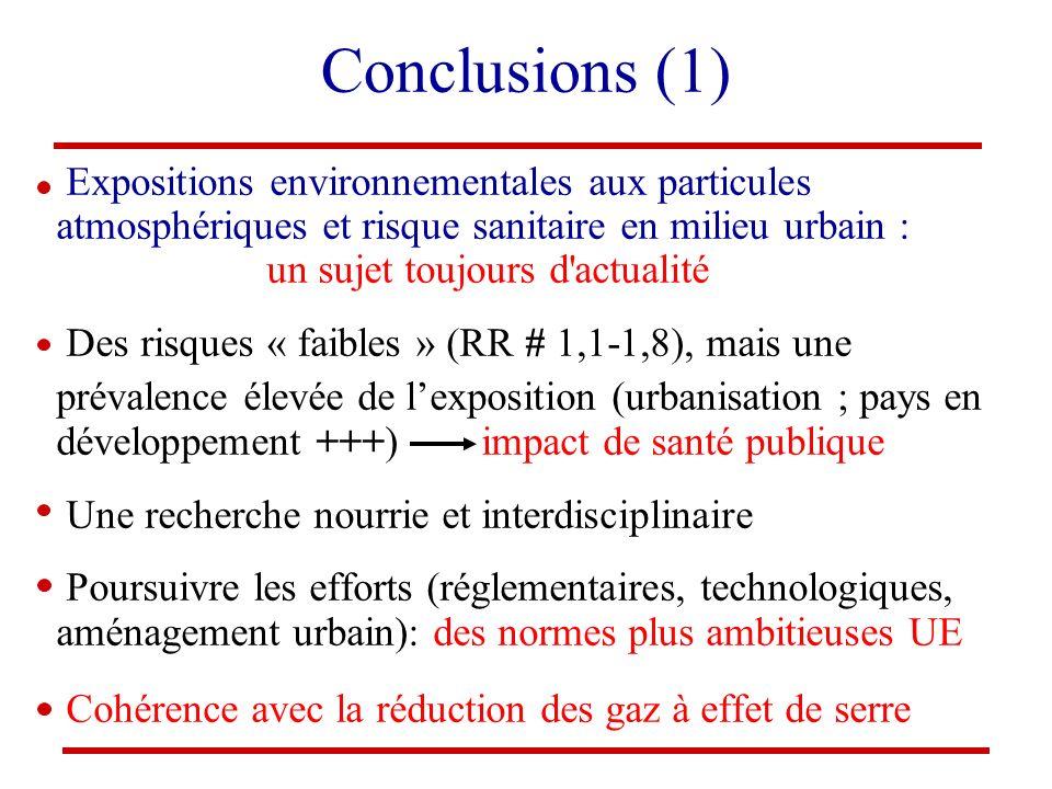 Conclusions (1) Expositions environnementales aux particules atmosphériques et risque sanitaire en milieu urbain : un sujet toujours d actualité.
