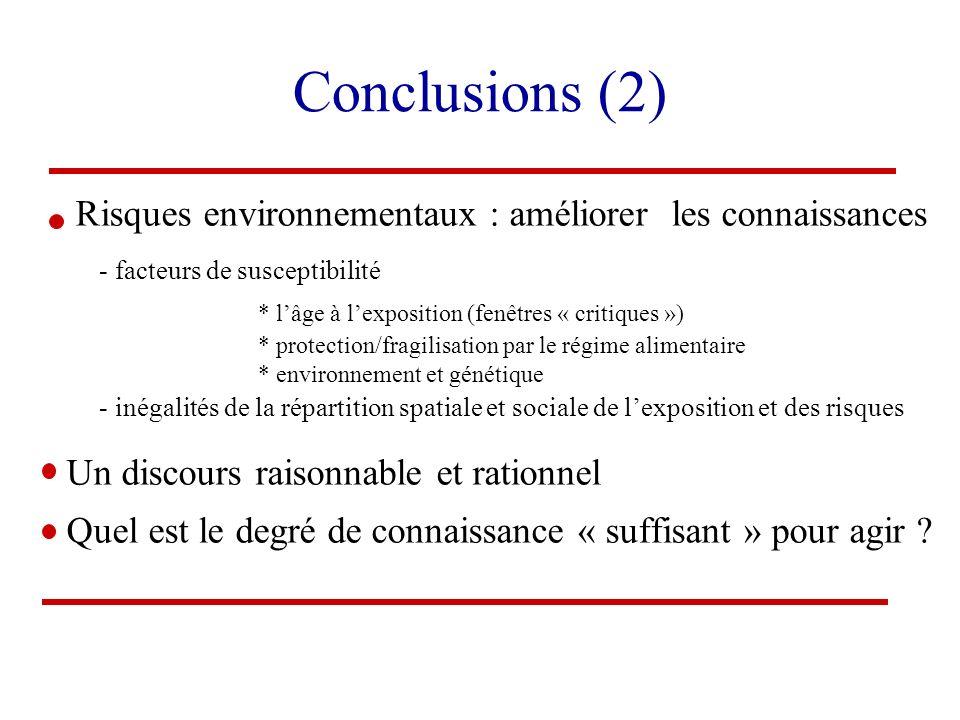 Conclusions (2) Risques environnementaux : améliorer les connaissances