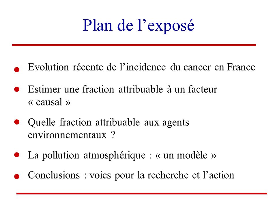 Plan de l'exposé Evolution récente de l'incidence du cancer en France