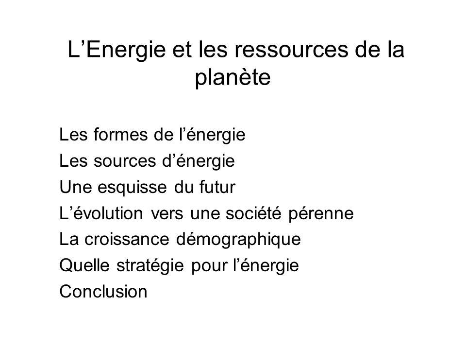 L'Energie et les ressources de la planète