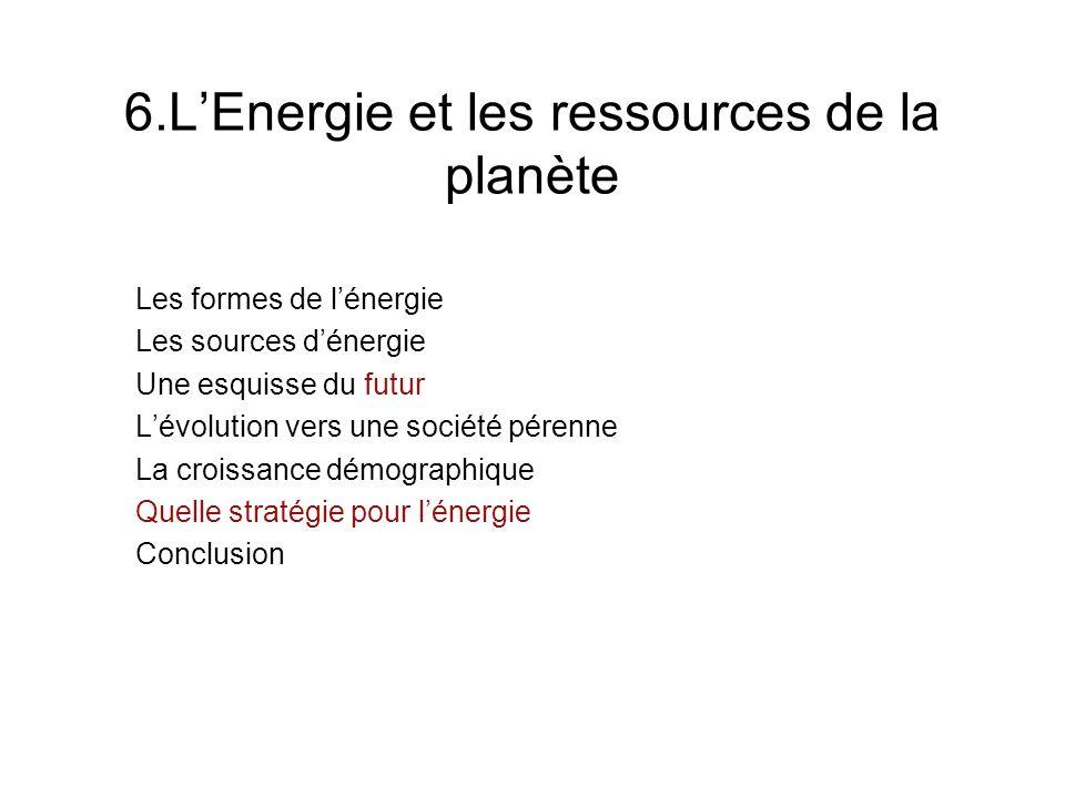 6.L'Energie et les ressources de la planète