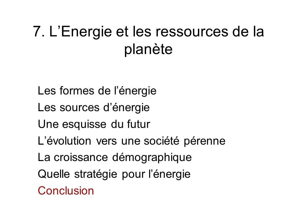 7. L'Energie et les ressources de la planète