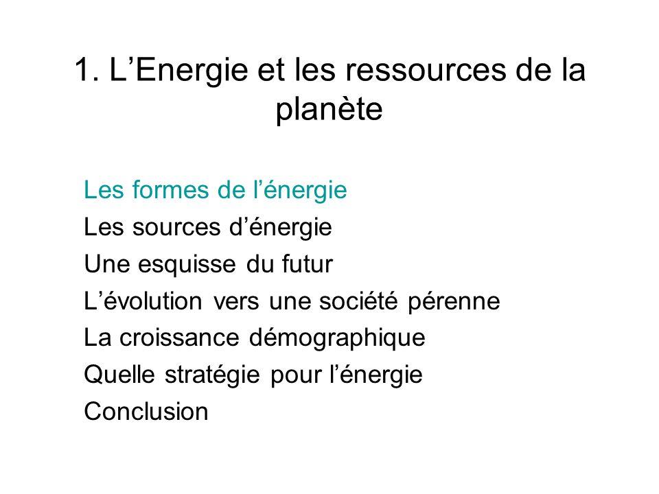 1. L'Energie et les ressources de la planète
