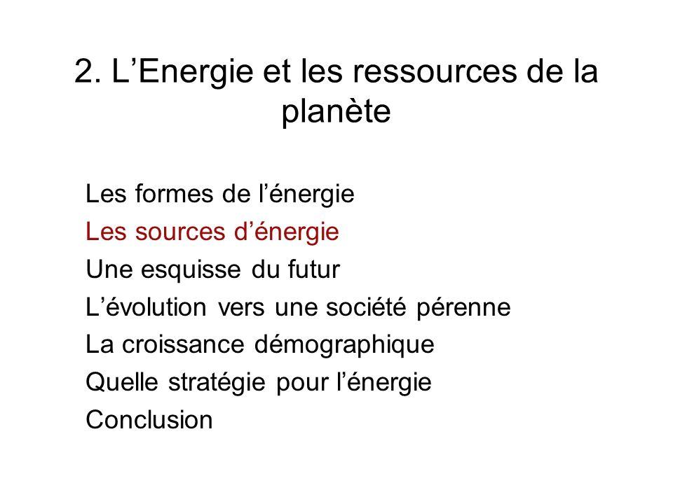 2. L'Energie et les ressources de la planète