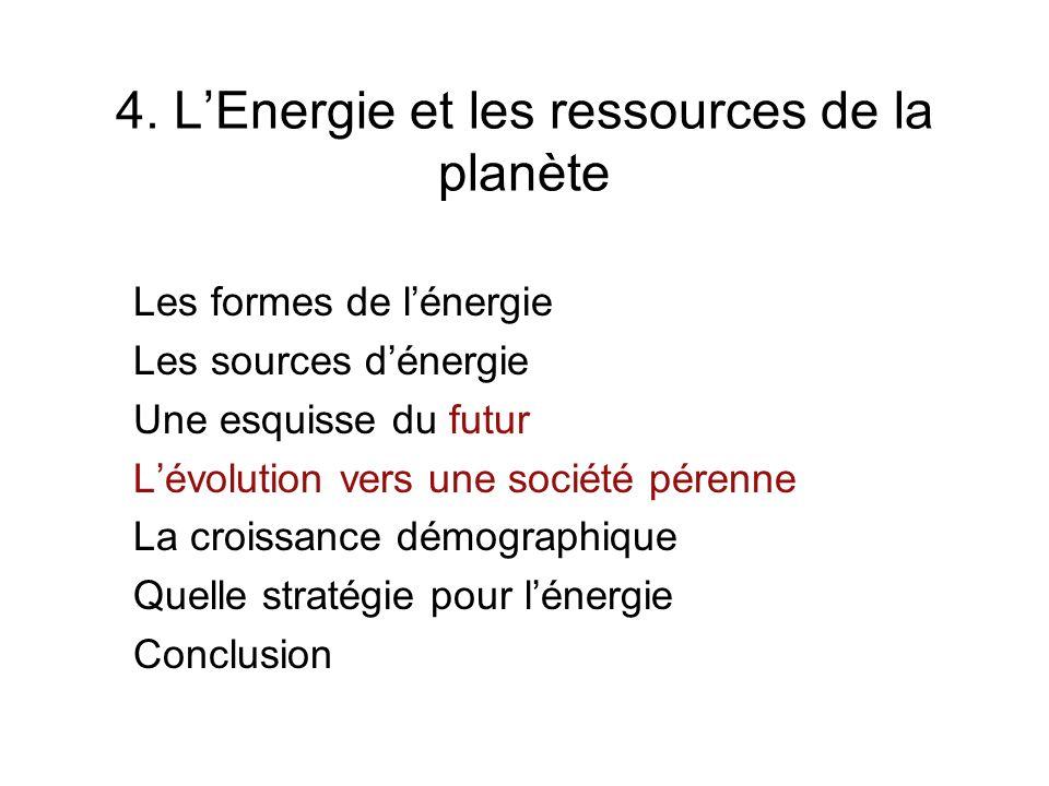 4. L'Energie et les ressources de la planète