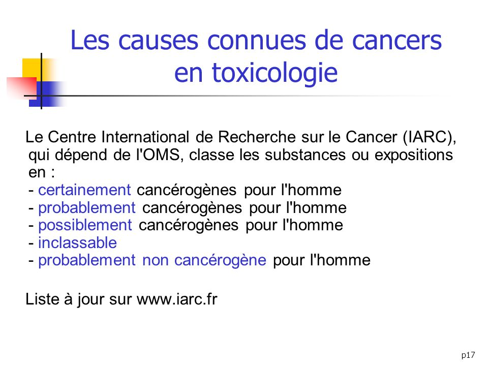 Les causes connues de cancers en toxicologie