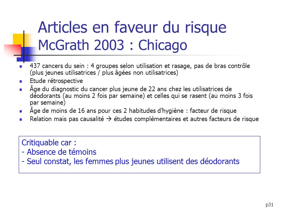 Articles en faveur du risque McGrath 2003 : Chicago