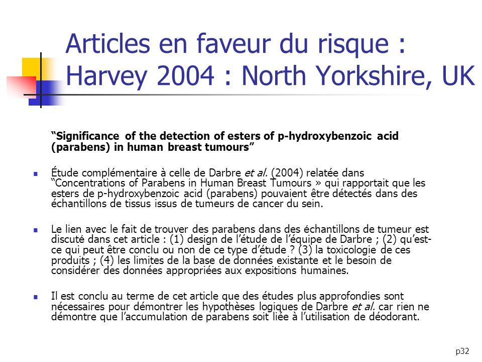Articles en faveur du risque : Harvey 2004 : North Yorkshire, UK