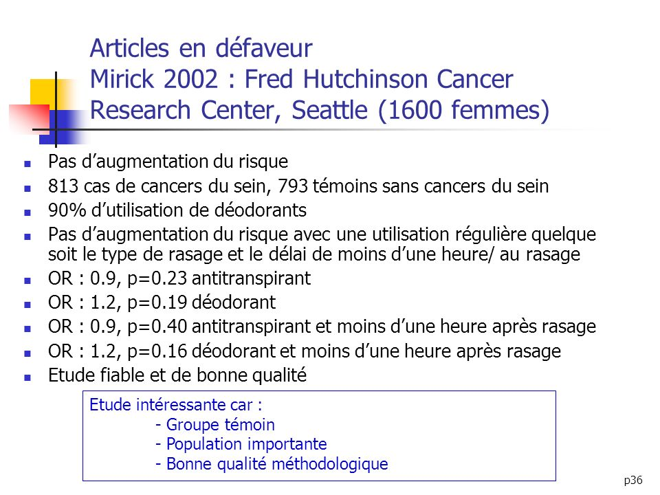 Articles en défaveur Mirick 2002 : Fred Hutchinson Cancer Research Center, Seattle (1600 femmes)