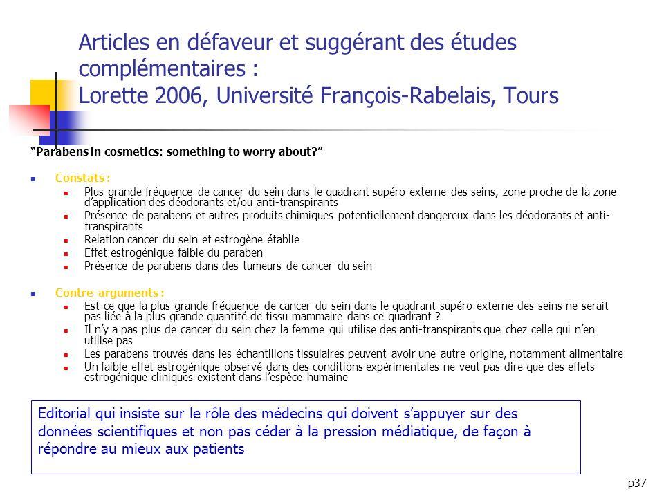 Articles en défaveur et suggérant des études complémentaires : Lorette 2006, Université François-Rabelais, Tours