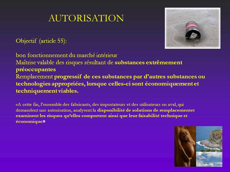 AUTORISATION Objectif (article 55):