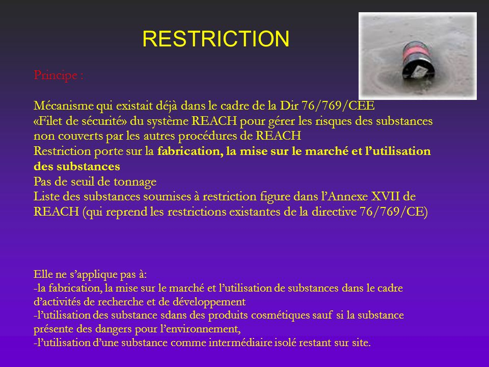 RESTRICTION Principe :