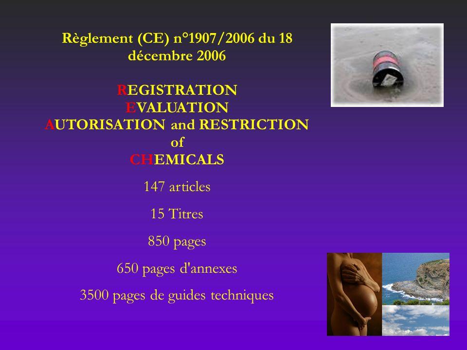 Règlement (CE) n°1907/2006 du 18 décembre 2006