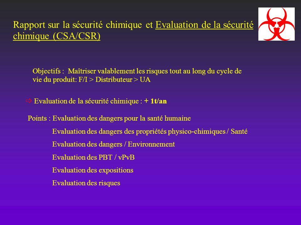 Rapport sur la sécurité chimique et Evaluation de la sécurité chimique (CSA/CSR)