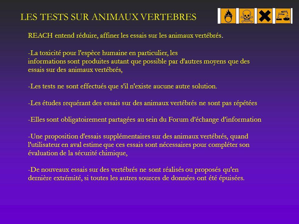 LES TESTS SUR ANIMAUX VERTEBRES