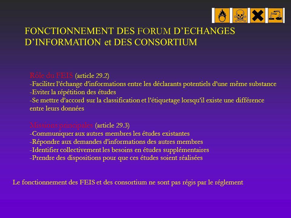 FONCTIONNEMENT DES FORUM D'ECHANGES D'INFORMATION et DES CONSORTIUM