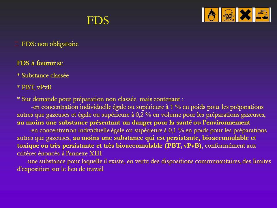 FDS  FDS: non obligatoire FDS à fournir si: * Substance classée