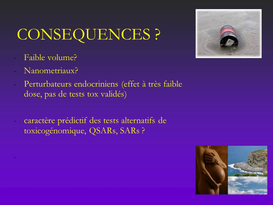 CONSEQUENCES Faible volume Nanometriaux