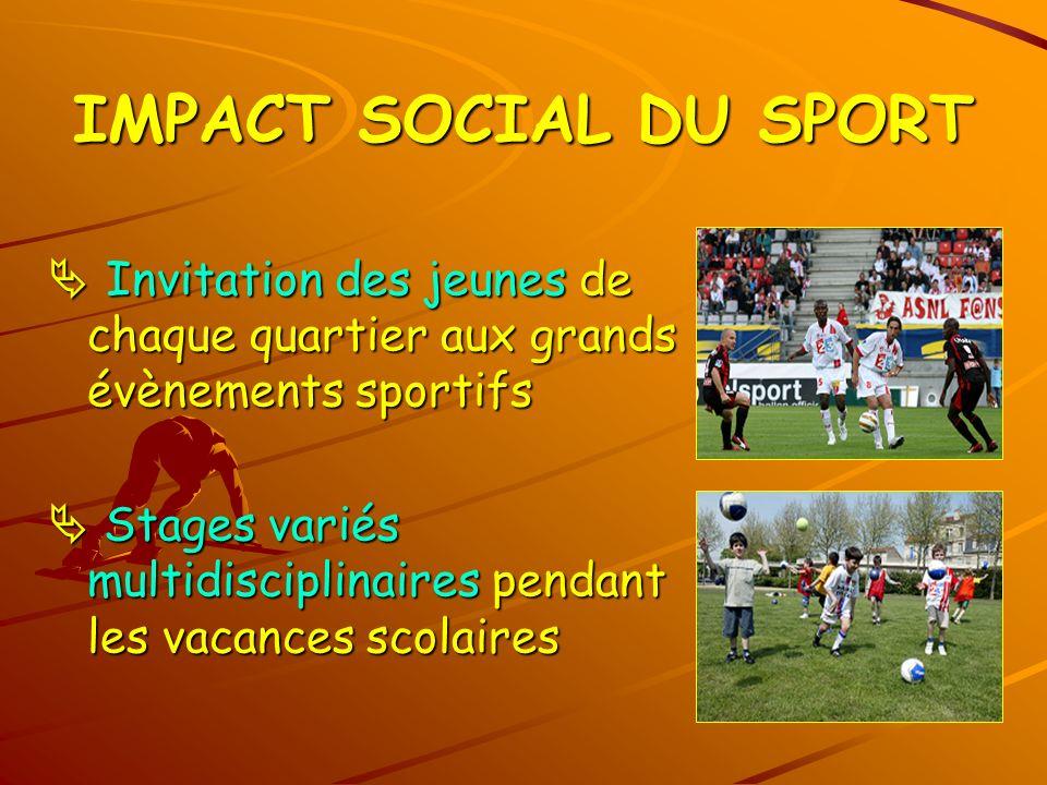 IMPACT SOCIAL DU SPORT  Invitation des jeunes de chaque quartier aux grands évènements sportifs.