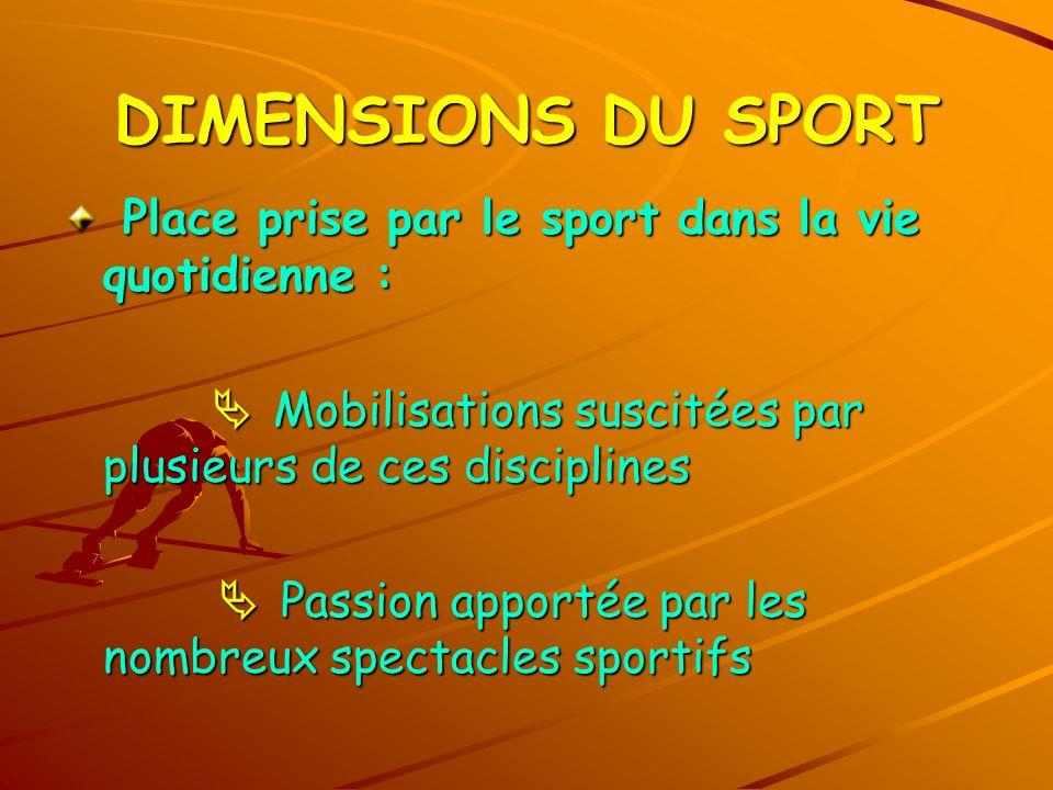 DIMENSIONS DU SPORT Place prise par le sport dans la vie quotidienne :
