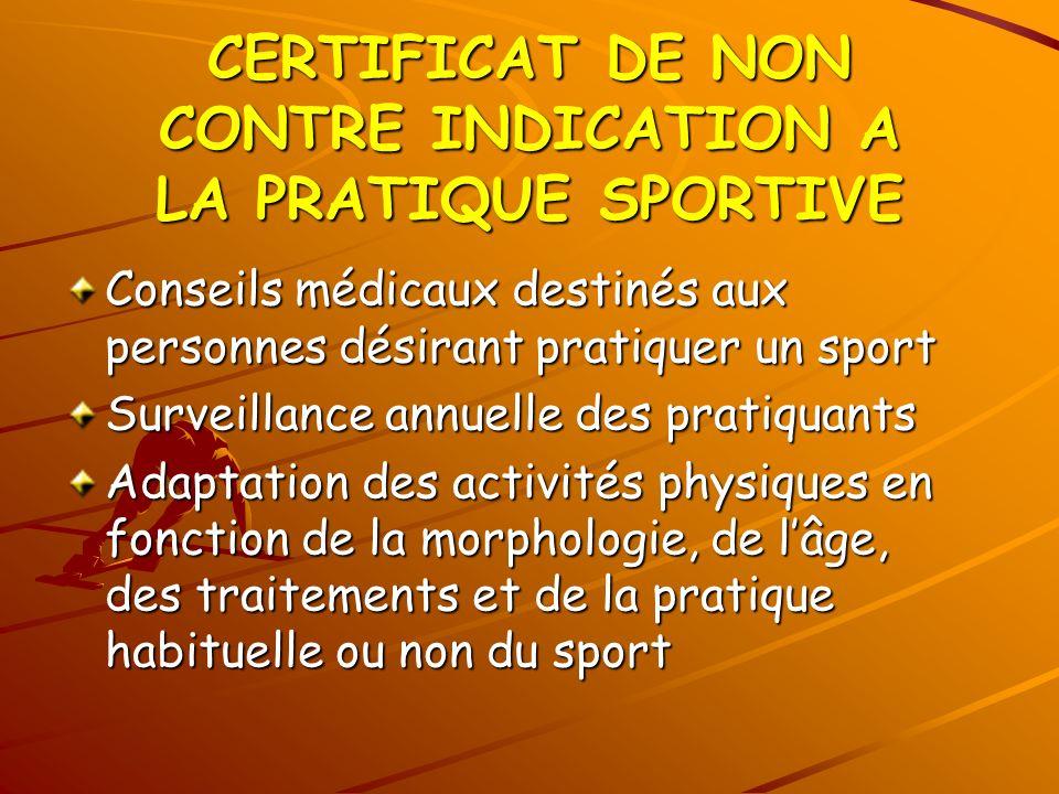 CERTIFICAT DE NON CONTRE INDICATION A LA PRATIQUE SPORTIVE