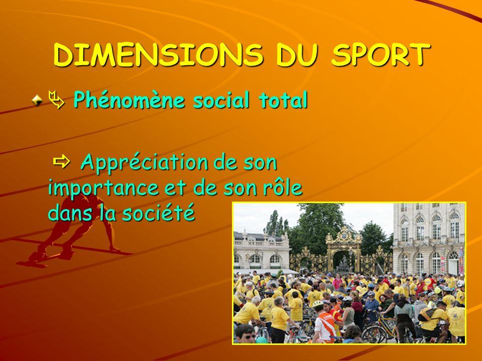 DIMENSIONS DU SPORT  Phénomène social total