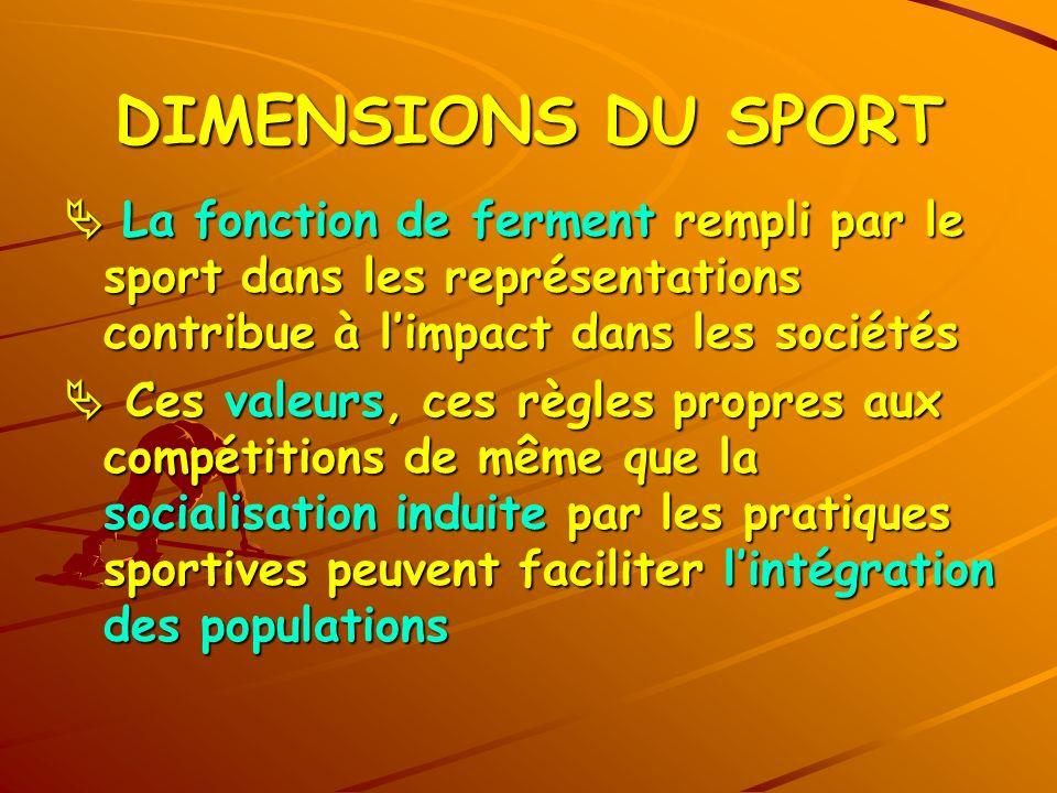 DIMENSIONS DU SPORT  La fonction de ferment rempli par le sport dans les représentations contribue à l'impact dans les sociétés.